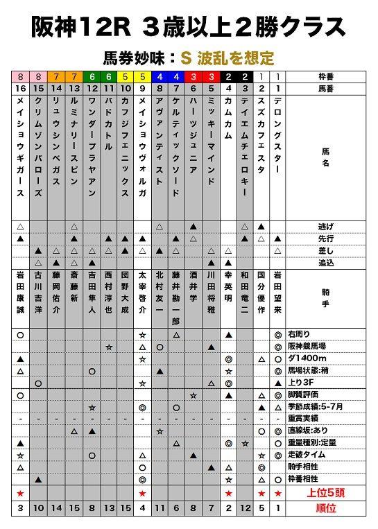 阪神12R 3歳以上2勝クラスのレース適性評価